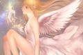 Картинка девушка, крылья, ангел, аниме, арт, профиль, yuuki