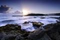 Картинка море, пейзаж, закат, скалы