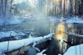 Картинка зима, лес, река, снег, природа