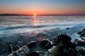Картинка море, солнце, закат, камни