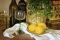 Картинка цветок, лимон, бокалы, бутылки, цитрус