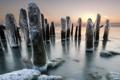 Картинка закат, лёд, опоры