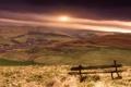 Картинка небо, солнце, закат, скамейка, холмы, поля, даль