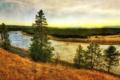 Картинка дорога, трава, деревья, река, берег, жёлтая