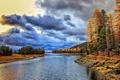 Картинка осень, лес, облака, деревья, озеро, Lake Cascade