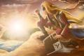 Картинка закат, горы, птица, паук, шляпа, парень, Наруто