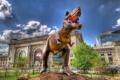 Картинка здание, динозавр, скульптура