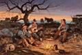 Картинка небо, дерево, гитара, собака, картина, вечер, костер