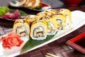 Картинка рис, суши, начинка, японская кухня, имбирь, соевый соус