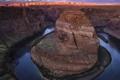 Картинка река, вечер, Колорадо, каньон, Аризона, Подкова (Хорсшу-Бенд)