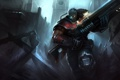Картинка оружие, разрушения, бег, костюм, парень, art, league of legends