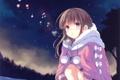 Картинка холод, зима, небо, девушка, звезды, облака, деревья