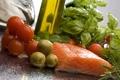 Картинка масло, рыба, красная, помидоры, оливки