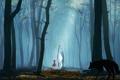 Картинка лес, деревья, природа, красная шапочка, аниме, арт, капюшон