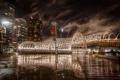 Картинка город, Webb Bridge, rainy night