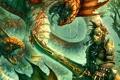 Картинка лес, монстр, воин, мужчина, меч, кровь, битва