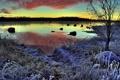 Картинка зима, иней, пейзаж, закат, озеро