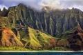 Картинка облака, природа, океан, берег, остров, Гаваи