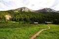 Картинка дорога, пейзаж, горы, дом