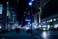 Картинка дорога, машины, ночь, люди, здания, New York