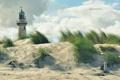 Картинка песок, море, пляж, небо, облака, маяк, Германия