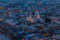 Картинка огни, Лондон, англия, дома, вечер, панорама, собор Святого Павла