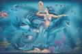 Картинка русалка, дельфины, под водой, www.tatyana.pro