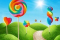 Картинка небо, трава, солнце, colorful, леденцы, sweet, candy