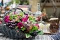 Картинка цветы, корзина, виноград, листики, пионы