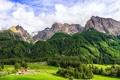 Картинка лес, деревья, горы, поля, Италия, домик, Piazza