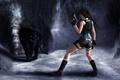 Картинка пещера, девушка, Tomb raider, черная, пистолеты, шорты, Lara Croft
