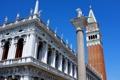 Картинка небо, Италия, Венеция, кампанила, колонна Святого Теодора, колокольня собора Святого Марка