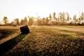 Картинка поле, деревья, закат, тень, стог, сено, лучи солнца