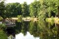 Картинка пруд, Orebro, вода, Швеция, деревья, беседки, отражение