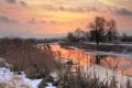 Картинка снег, закат, река