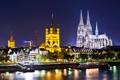 Картинка город, огни, река, готика, вечер, Германия, освещение