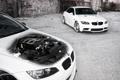 Картинка BMW, WHEELS, white, бмв, белый, передняя часть, стена