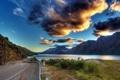Картинка дорога, вода, облака, горы, река