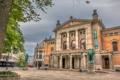 Картинка площадь, Норвегия, памятник, театр, Осло