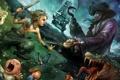 Картинка дети, луна, корабль, сказка, крокодил, фея, фэнтези