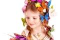 Картинка бабочки, цветы, Girl, блондинка, девочка, красивая, прелесть