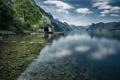Картинка лес, вода, горы, природа, озеро, дно