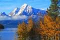 Картинка осень, небо, деревья, горы, озеро, Вайоминг, США