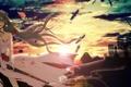 Картинка небо, девушка, облака, закат, птицы, город, оружие