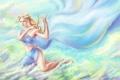 Картинка небо, взгляд, облака, волосы, арт, богиня