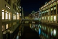Картинка ночь, мост, огни, дома, Германия, канал, Гамбург