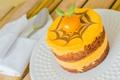 Картинка узор, фрукт, пирог, крем, листики, выпечка