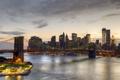 Картинка мост, город, река, Нью-Йорк, небоскребы, Бруклинский