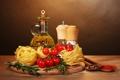 Картинка pasta, oil, специи, помидор, еда, tomatoes, spices