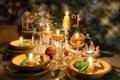 Картинка зима, стол, игрушки, свечи, Новый Год, печенье, бокалы